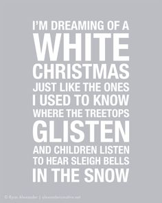 Items similar to White Christmas Subway Art Print // Silver and White // on Etsy