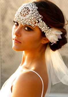 Opal Crystal Lace Headpiece Jolene by DolorisPetunia on Etsy