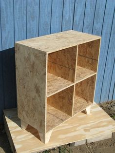 This set of shelves gives us inspiration for the shelves we would like in our apartment. We want them unpainted and unstained, though they will probably be water proofed as we plan on them holding plants, so as to lighten up the space.