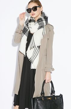 Clark Oversized Plaid Scarf in Black / White | Wrap around a classic button up blouse for a cultivated look.