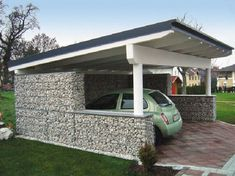 Gabion fence, with similar structure but more functions than gabion wall and gabion retaining wall. It is commonly made of welded gabions which has rigid and durable structure. Gabion Fence, Gabion Wall, Fence Design, Garden Design, Gabion Baskets, Carport Designs, Pergola Designs, Carports, Energy Efficient Homes