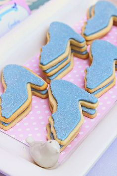 Pretty, Pink & Royal Cinderella Birthday Party with glass slipper cookies!
