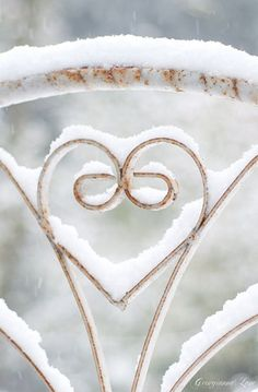 Winter Photography, Shabby Iron Heart in Snow