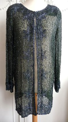 1980s VTG OLIVE SEQUIN SEQUINNED BEADED JACKET TOP CARDIGAN XMAS PARTY 10 12 14    £59.99