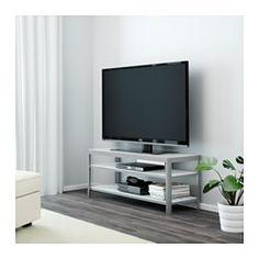 IKEA - GETTORP, Mueble TV, blanco/aluminio, , El mueble de TV incluye varios accesorios para organizar los cables.Este mueble para TV, de metal y vidrio templado, es duradero y fácil de limpiar.Las baldas proporcionan mucho espacio para poner el reproductor de DVD, el receptor de TDT u otros aparatos.