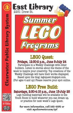 LEGO Quest: Fridays, 12:30-2 p.m., June 5-July 24 Participate in a Weekly Challenge with other builders. Listen to stories about the theme of the week to inspire your creativity. Top creations of the Weekly Challenge will have their works displayed. Based upon the blog: legoquest.blogspot.com. LEGO Free Build: Saturdays, 2:30-4:15 p.m., June 13-July 25 Lego building materials will be available in the Youth Room to build whatever you can dream up, or practice for next week's Lego Quest.