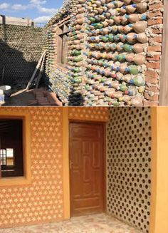 The buildings made from waste plastic bottles are environmentally friendly and cost is very cheap Plastic Bottle House, Plastic Bottles, Brick Projects, Projects To Try, Recycled House, Unusual Buildings, Earthship, Soft Plastic, Sustainable Living