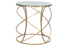 Carney Accent Table, Gold/White Glass
