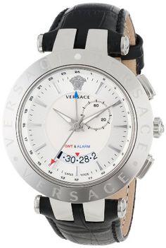 Versace Men's 29G99D001 S009 V-Race Silver Dial GMT Alarm Date Black Leather Strap Watch Versace