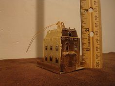 Small Brass Two Story House Christmas Tree  Ornament