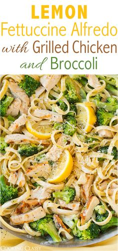 Lemon Fettuccine Alfredo with Grilled Chicken and Broccoli - this is AMAZING and it& made with a lighter sauce! Definitely adding this to my dinner rotation, my whole family loved it! Pasta Recipes, Chicken Recipes, Dinner Recipes, Cooking Recipes, Healthy Recipes, Fettucine Alfredo, Good Food, Yummy Food, Gnocchi