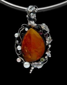 BALTIC HONEY or MULTICOLOR AMBER /& STERLING SILVER LILY or LEAF HANDMADE RING