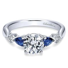 Gabriel and Co. Vintage Engagement Ring with Sapphire #ER6002W44SA #vintageengagementrings