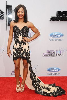 Red carpet fashion at the BET Awards 2013: Gabby Douglas
