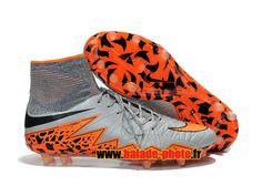Nike Hypervenom Phantom II FG Chaussures de football Orange Noir Gris 4522