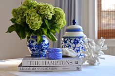 blue & white w/ green hydrangeas