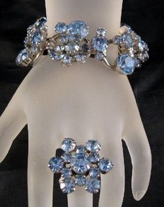 DeLizza & Elster Juliana Lt. Sapphire Blue R/S Wire-Over Bracelet & Ring    From Ruby Lane Shop Grapenut Glitz Jewelry & Collectibles