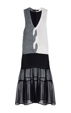 Color Blocked Cable Knitwear Combo Dress - Thakoon Resort 2016 - Preorder now on Moda Operandi