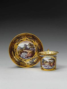 Derby beaded cabinet cup and saucer circa 1820
