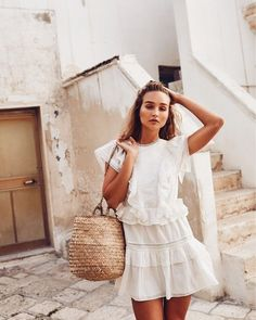 Straw Basket Bag and White Ruffle Dress #style #spring #staples