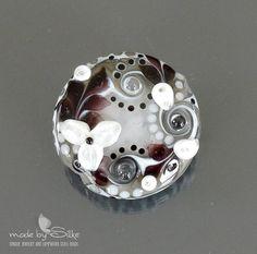 Handmade lampwork bead focal   |   Monochrome Tropical Garden  |  lentil  |  SRA  |  artisan glass |  Silke Buechler