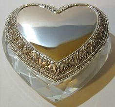 Crystal And Silver Heart Trinket Box