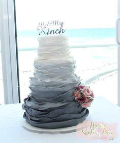 Ombre Gray wedding cake by Naomi's Shaken & Baken - http://cakesdecor.com/cakes/299029-ombre-gray-wedding-cake