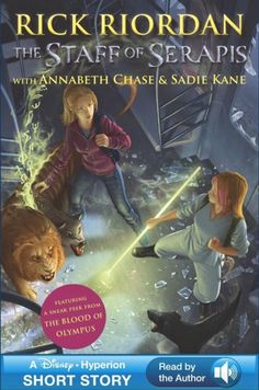 The Staff of Serapis, a sixty-page crossover story featuring Annabeth Chase and Sadie Kane, is available starting Tuesday, April 8, in the back of the newly released US paperback edition of The Mark of Athena!   The story will be available in e-formats, with the cover above, on May 20. The e-format will also include the first sneak peek of The Blood of Olympus, and if you buy the version with the audio bundled in, you will get to hear Rick Riordan narrating.
