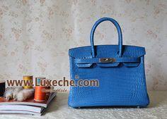 Authentic-Mirror-copy-30cm-Hermes-birkin-handbag-Mykonos-Matt-Crocodile-leather-with-phw.Original-leather , same-craftsmenship, Ex-Original-craftsmen, 100%-hand-stitching,luxeche.