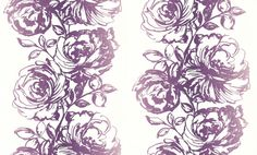 Floral (2645-58) - Albany Wallpapers - A bold column of roses in rich purple on white with a raised texture, creating a stripe effect. Please request sample for true colour match. Blown vinyl