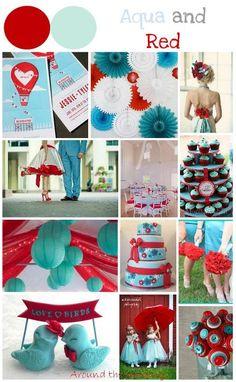 Tableau d'inspiration couleur aqua and red, rouge et bleu. Mariage wedding