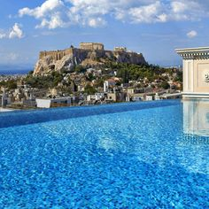 View from the pool bar at King George Hotel, Athens. Greece Itinerary, Greece Honeymoon, Pool Bar, Greece Islands, King George, Athens, Places To Visit, Greek, Romantic