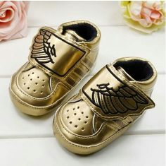 check out 40d98 dde5f Velcro toddler first steps infant jeremy scott ANGEL wing gold
