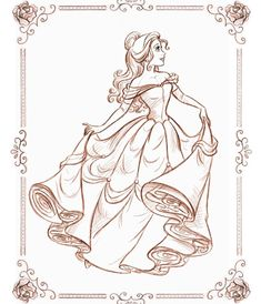 Belle for Disney event. Thank you Cathy for the pretty frame Princess Sketches, Disney Princess Drawings, Disney Princess Art, Disney Sketches, Disney Fan Art, Disney Drawings, Disney Love, Disney Magic, Disney Belle
