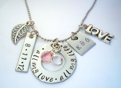 Hand Stamped Personalized Necklace - Couples love - Wedding Jewelry - Bridal Shower - Anniversary Jewelry.