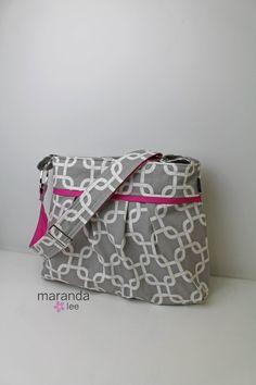 Stella Diaper bag READY to SHIP Large  Grey Gotcha by marandalee grey hot pink baby girl diaper bag