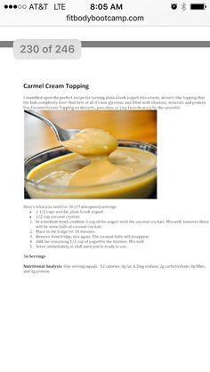 Caramel cream topping