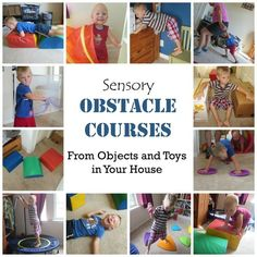 Looking to get more sensory input, especially for vestibular and proprioceptive needs? Try these Sensory Obstacle Courses made from objects you probably already have lying around your house. Find out what types of activities to include in a well rounded s