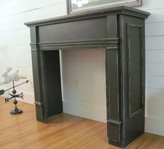 4 Dumbfounding Cool Tips: Black Fireplace Wall fake fireplace chimney. Primitive Fireplace, Faux Fireplace Mantels, Faux Mantle, Craftsman Fireplace, Candles In Fireplace, Black Fireplace, Concrete Fireplace, Fireplace Wall, Fireplace Surrounds