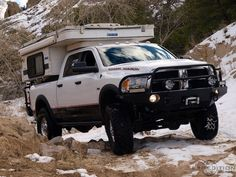 """Can't really call this a """"project vehicle"""" since all that was added was an after-market winch bumper and a camper bed. The Ram 2500 Power Wagon's stock Warn winch is good enough for me. Dodge Pickup, Dodge Cummins, Ford Pickup Trucks, Dodge Trucks, Jeep Truck, Dodge 2500, Pickup Camper, Ram Trucks, Pop Top Camper"""