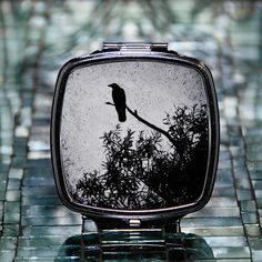 Crow Dual Mirror Compact by ebonypaws on Etsy (Accessories, Mirror, makeup mirror, compact mirror, pocket mirror, mirror for purse, travel mirror, travel accessory, mirror, round mirror, mothers day gift, double mirrors, halloween, black bird, raven)