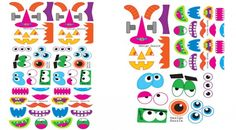 """Free Halloween Monster Faces!  Fun to decorate soda bottles and give as a """"Booed"""" gift or use the monster faces to decorate pumpkins! Design Dazzle #freeprintables #halloweenprintables #monsters"""