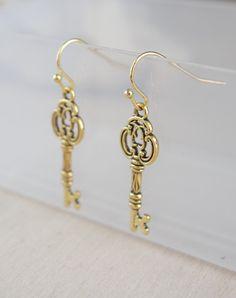 Gold Key Earrings Skeleton Key Jewelry by NewJewelleryStory
