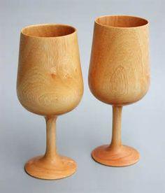 turned wood glasses