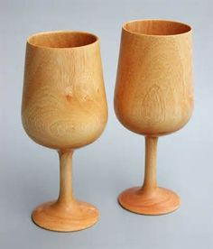 turned wood glasses