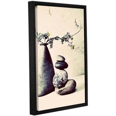 ArtWall Elena Ray Stones And Vase Gallery-wrapped Floater-framed Canvas, Size: 24 x 36, Black
