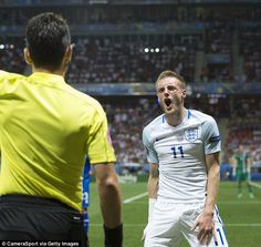 Jamie Vardy was thrust into the action but he didn't have the same effect as he did against Wales England Euro 2016, England Players, Jamie Vardy, Wales, Action, English, Sports, Mens Tops, Baby