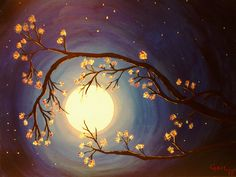 """Moonlight Blossoms"" by Gail Heath (Acrylic)"