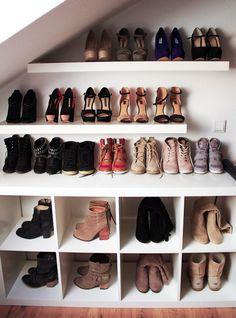 Shoe closet under stairs!