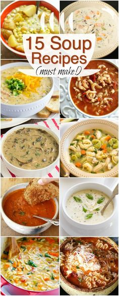 A bowl of soup always does the trick! Check out thees 15 absolutely delicious winter soup recipes! The white chicken chili is one of my personal favorit Chili Recipes, Crockpot Recipes, Soup Recipes, Dinner Recipes, Cooking Recipes, Healthy Recipes, Delicious Recipes, Vegetarian Recipes, Healthy Snacks